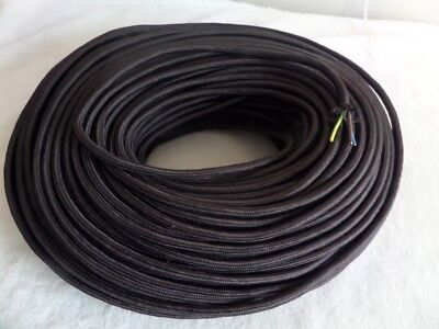 Dark Brown Vintage textile fabric 3 core braided power cable sold per meter