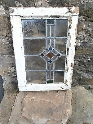 Antique Stained Glass Leaded Window and Frame Art Nouveau / Deco Vintage