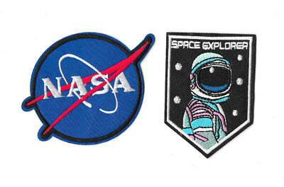 NASA SPACE EXPLORER IRON ON / SEW ON 2-PIECE PATCH SET Embroidered Badge PS36