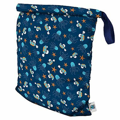Planet Wise Roll Down Wet Diaper Bag, Navy Sea Friends, Large