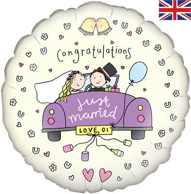 """18"""" Congratulations Just Married With Car, Helium Foil Balloon!"""