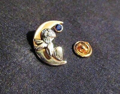 "Angel In The Moon Brooch Clear Blue Stone Crystal Pin Stamped ""DN"" Two Tone Gold"
