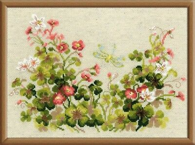 """SAUERKLEE & LIBELLE""  Cross Stitch Kit  Kreuzstich-Stickpackung 30 x 21 CM"