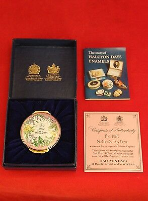 "Halcyon Days Enamels 1987 MOTHER'S DAY 1 5/8"" Trinket Pill Box w Gift Box & COA"