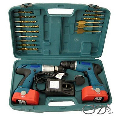 18V Cordless Drill Twin Hammer Drills Set Impact Driver Kit In Case Battery