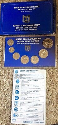 Official 1980 Israel's Mint Set of Coins - Israel's 32nd Anniversary-Free Ship