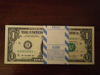 2013 St. Louis H $1 STAR NOTES Currency Bundle 100 Sequential Serial #