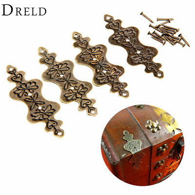 4Pcs Antique Brass Corner Bracket Jewelry Gift Box Wood Case Decorative Feet Leg