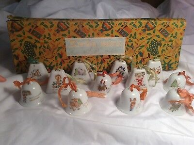 Vintage Antique Hand Painted Porcelain Christmas Bell decorations Made in Japan
