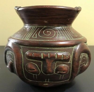 Native Amazonian Handmade Red Clay Bowl in Brazil