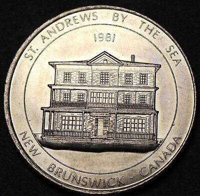 St. Andrews By The Sea New Brunswick Canada Trade Token Dollar 1981~UNC~Fr/Ship