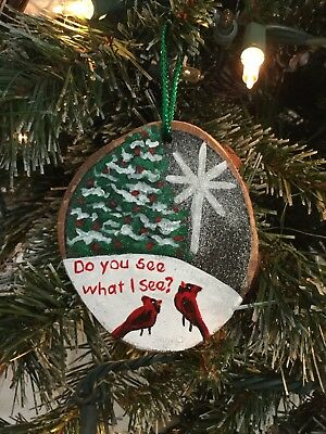 Hand Painted Wood Slice Christmas Ornament Cardinal Glitter