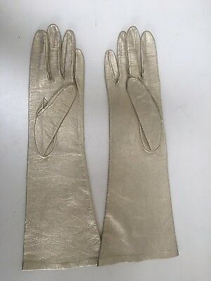 Vintage Gold Leather Flared long evening Gloves Size 6 0r 6.5