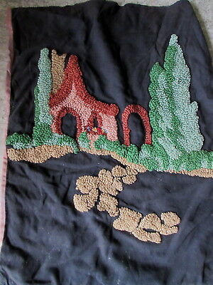 Antique Hooked Pillowcase Deco Cottage & Trees on Black Cloth