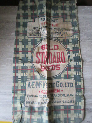Old Vintage Gold Standard Seeds Cloth Bag A.E.McKenzie Toronto