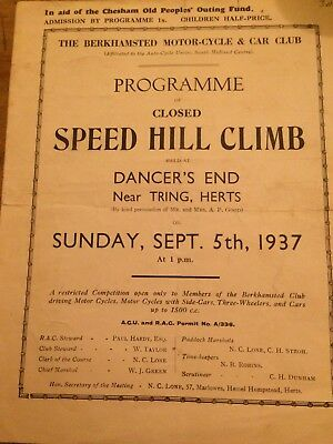1937 Speed Hill Climb Programme