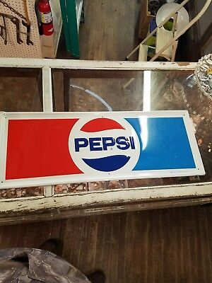 Vintage 1974 Pepsi Cola  Old Metal Tin Sign