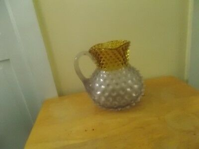 Vintage Francesware Victorian  Dew Drop Hobnail Frosted  & Yellow