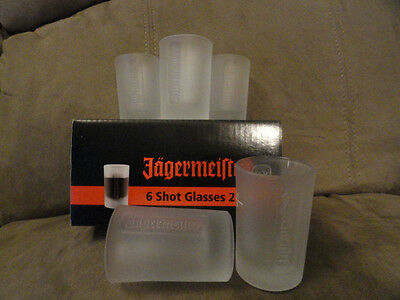 Jagermeister 6 Glass Shot Glasses Smoked Glass Engraved Logo - Brand NEW! Jager