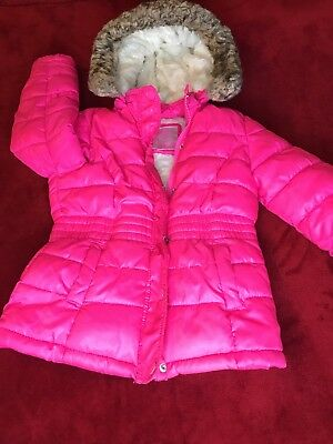 Justice Girls Neon Pink Winter Quilted Puffer Jacket Coat Faux Fur Size 6/7