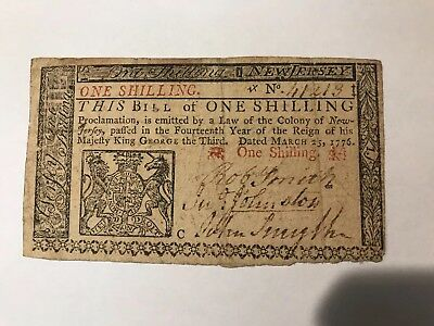 Colonial Currency two color New Jersey 1776 Fantastic Condition three signatures