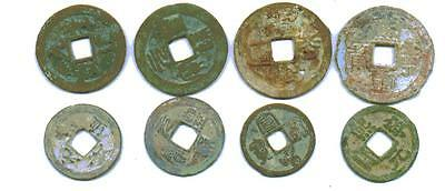 8 Ancient Chinese Coins(Song Dyn. 1000 yrsold, 4 Pairs)