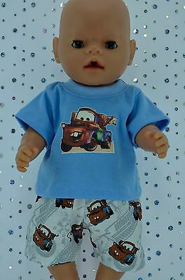 "Play n Wear Doll Clothes To Fit 17"" Baby Born PATTERN SHORTS~BLUE T-SHIRT"