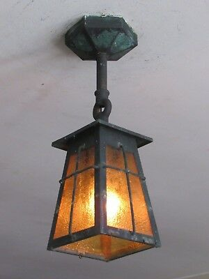 AWESOME! Antique Exterior Copper Porch Light Fixture Great Patina - Restored!