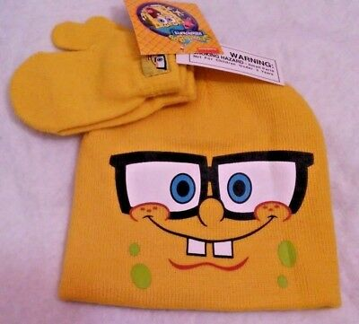 Spongebob Squarepants Kids Boys Winter Hat Beanie and Mittens Set NWT (AA)