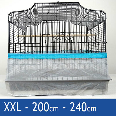 Blue XXL 240cm Seed Catcher Guard Cage Tidy Mess Protection Pile Bird Parrot