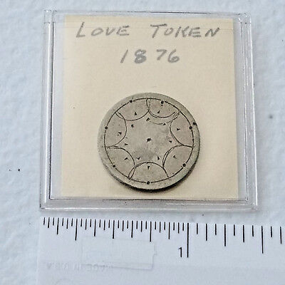 #1306 - 1876 seated liberty dime Love Token. No Initials, just a 7 point star