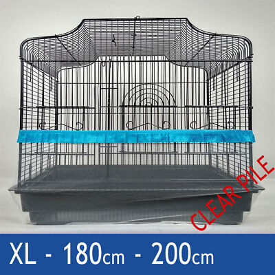 Bird Cage Tidy, Cage Seed Catcher Guard Pile Fabric Blue XL 180cm 200cm Budgie