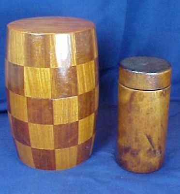 2 Vintage Round Wood Containers Walnut Parquetry Design Screw On Lid