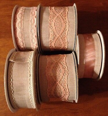 Brand New LOT Of 5  Celebrate It Aria Vintage Blush Rose Antique Wired Ribbon