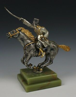 "Giuseppe Vasari Bronze & 22K Gold figurine ""Cossack on Horse"""