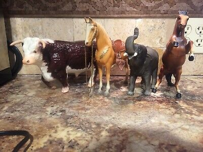 Breyer Vintage Lot of 4 Walking Bull, Western Horse, Elephant, and Rearing Horse
