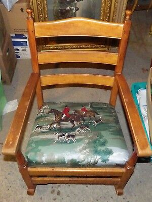 Stickley Rocking Chair Hunting Scene Seat