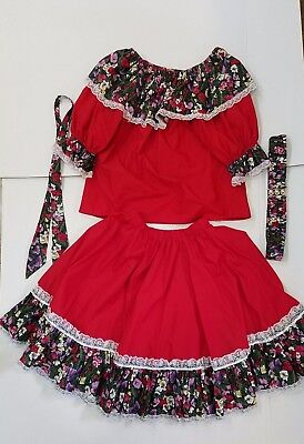 Square Dance Outfit Red with Flowers, Top, Skirt, with matching Tie and Belt