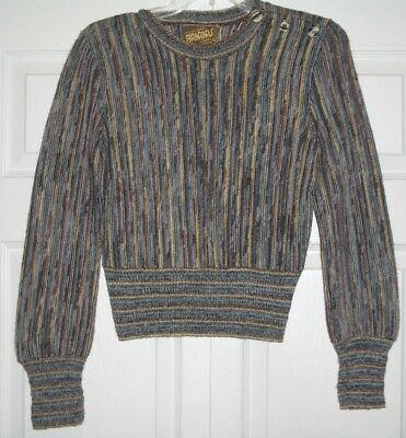 vtg 70s Nancy Bossio sweater top woven variegated multi-color brown stripes S