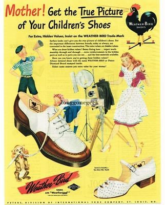 1945 WEATHER-BIRD Children's Shoes Rooster Weathervane Vtg Print Ad