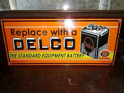 Delco Battery  Porcelain sign