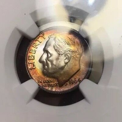 NGC MS67 FT FB 1964-D Roosevelt Dime *toned luster bomb* PriceGuide= $700 !