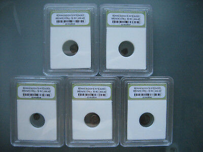 Widows Mite Ancient Roman Bronze Coin **Lot of 5 Slabbed** c. 80 BC - 400 AD