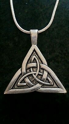 20 inch sterling silver chain triquetra/Irish knot tibetan charm gift Christmas