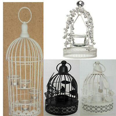 New Vintage Shabby Chic Style Cream Bird Cage Tealight Lantern Ornament