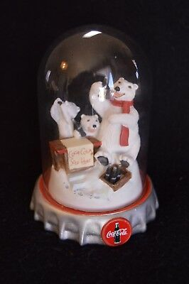 1996 Coca-Cola Polar Bears Glass Dome - Numbered, Limited Edition Franklin Mint