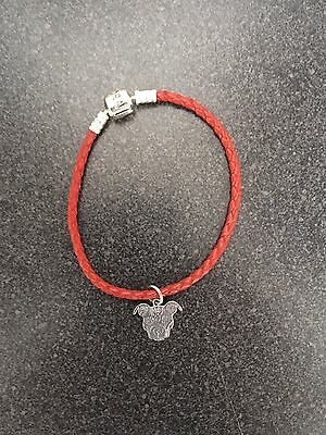 Sugar Skull Pit Bull Silver Charm on Red Leather Bracelet - New - FREE SHIPPING