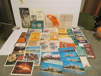 LOT OF 34 ITEMS  Hawaii Vintage Travel Brochures postcard airline tickets  1957