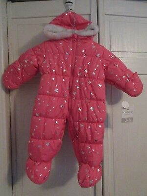 NWT Carters Girls Pink Puffer Snowsuit / Pram Suit 3 to 6  Mo Silver Stars