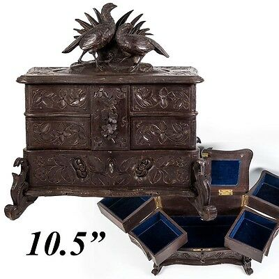 Antique Black Forest 3-level Jewelry Chest, Box, Cabinet w Game Hens, c. 1880